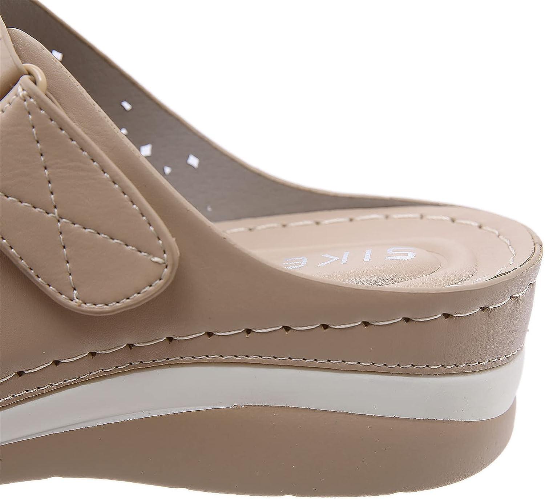 Solacozy Women Casual Wedge Sandals Comfortable Open Toe Slip on Summer Beach Sandals Fashion Ladies Bohemia Platform Dress Shoes