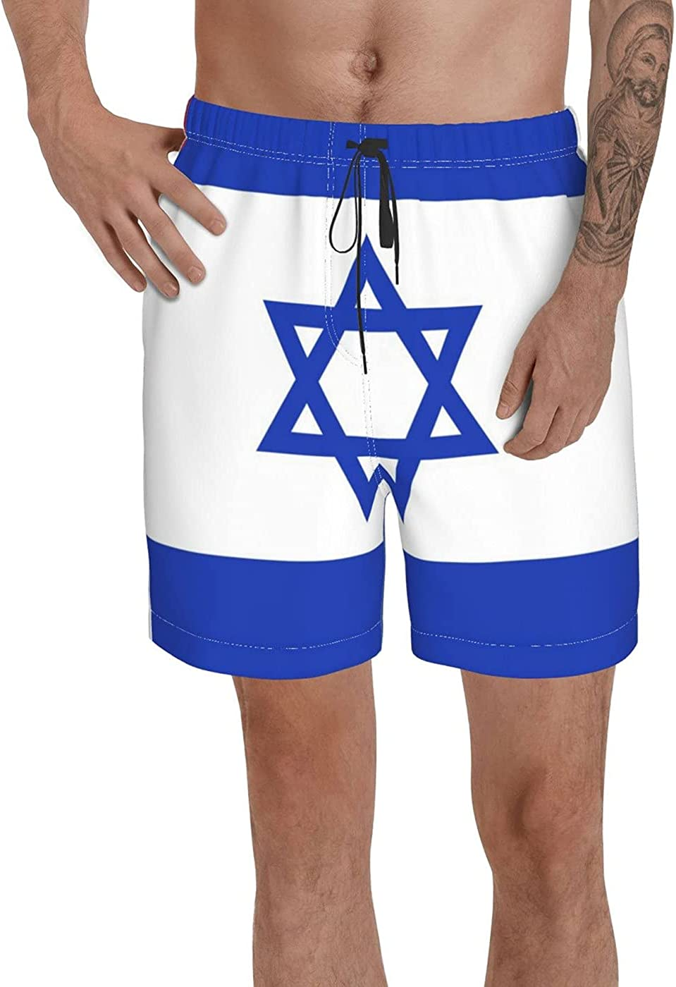 Count Israel Flag Men's 3D Printed Funny Summer Quick Dry Swim Short Board Shorts with