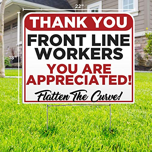 Color Shock Thank You Front Line Workers Yard Sign - Social Distancing Quarantine - Stay Safe - Bend The Curve (1)