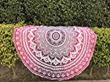 raajsee Tela Redonda de Mandala Estilo Hippie, diseño Indio Bohemio, Ideal como Colcha, Tapiz Decorativo, Mantel o Toalla de Playa, 175 cm, algodón, Pink Purple, 70 Inch