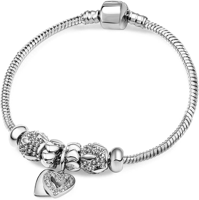 RIMAYZI 14K Gold/Platinum Plated Bracelets for Women, Birthday M