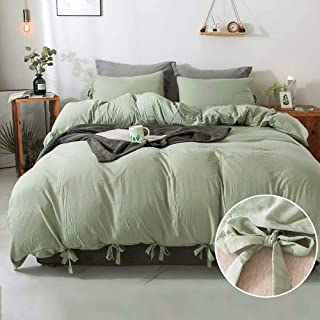 Annadaif Green Duvet Cover Queen(90x90 Inch),3 Pieces Soft Washed Cotton Duvet Cover Set, Easy Care Bedding Set for Men, W...