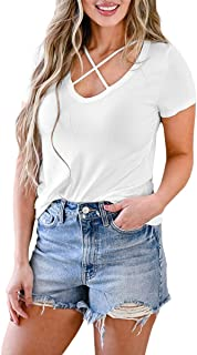 Sponsored Ad - Dyexces Criss Cross Top Summer Tops for Women Short Sleeve V-Neck T Shirts Casual Tees
