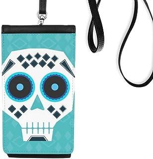 DIYthinker Women's Blue Eyes Skull Mexico National Culture Illustration Faux Leather Smartphone Hanging Purse Black Phone ...