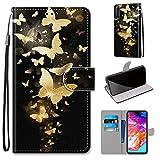 Miagon Flip PU Leder Schutzhülle für Samsung Galaxy A50,Bunt Muster Hülle Brieftasche Case Cover Ständer mit Kartenfächer Trageschlaufe,Gold Schmetterling -