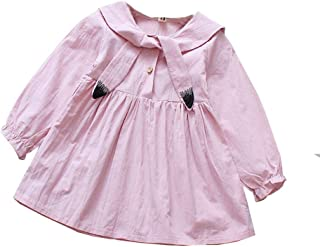 Fairy-Baby Toddler Girls Autumn Long Sleeve Princess Dress Pure Color Cartoon Pattern Bowknot Girls Skirt Elastic Cuff Round Neck Babys Daily Dress (Color : Pink, Size : 80cm)