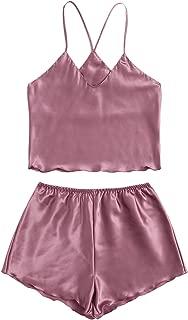 Women's 2 Piece Satin Cami Top and Shorts Pajama Set Sleepwear