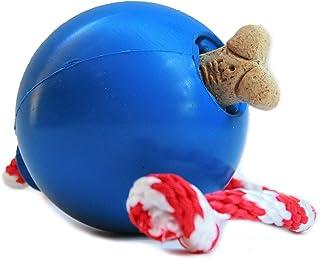 USA-K9: Cherry Bomb Treat Dispenser Tug a War Natural Rubber Fetch Dog Toy USA Made - Large - Blue