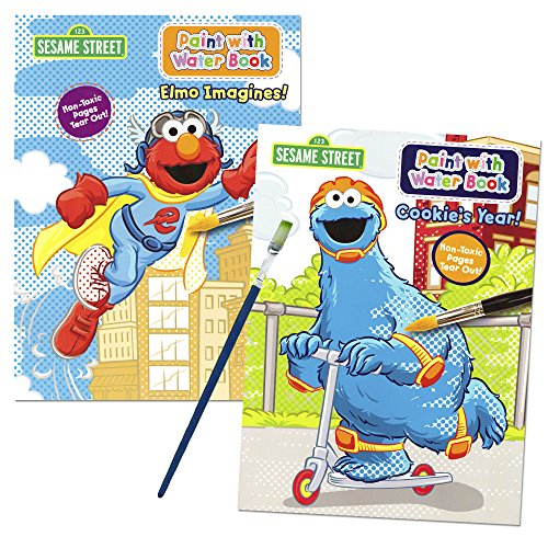 Sesame Street Paint With Water Books with Paint Brush (2 Books, 1 Green-Tip P...