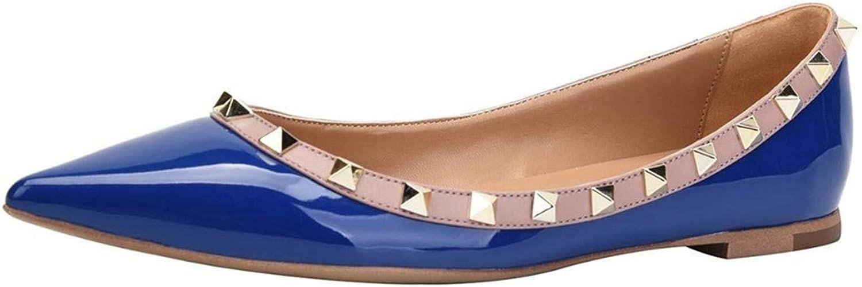 Jocbinltd Women shoes Rivets Flats Pointed Toe Ladies shoes Slip On Flat Heels Casual shoes Summer Women shoes bluee