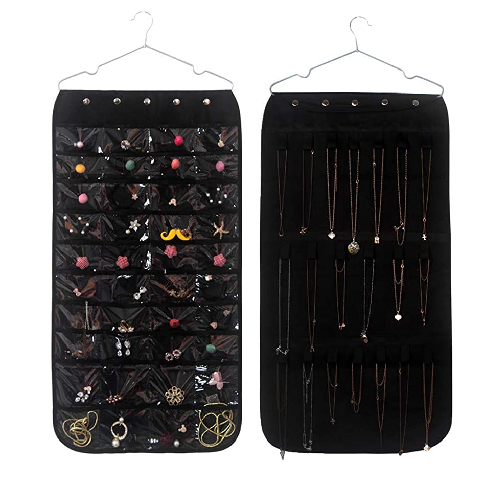 FAERIE Jewelry Storage Bag Double Sided Pockets Jewelry Hanging Display Bag (Black)