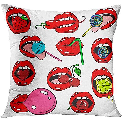 Gooi kussenslopen grappig van vrouwelijke lippen Stickers in Cartoon 80S 90S Pop Comic Woman'S Mouth met aardbei kersen peper gooi kussensloop kussensloop vierkante ontwerp decoratieve kussen Co