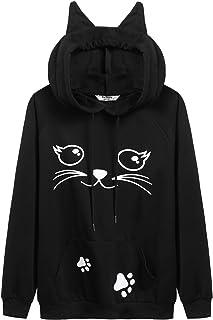 Beyove Women`s Black Cat Ear Hoodies Pockets Cute Pullover Sweatshirts Long Sleeve Shirts