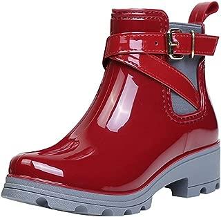 Short Rain Ankle Boots Wellington Chelsea Shoes for Women Ladies