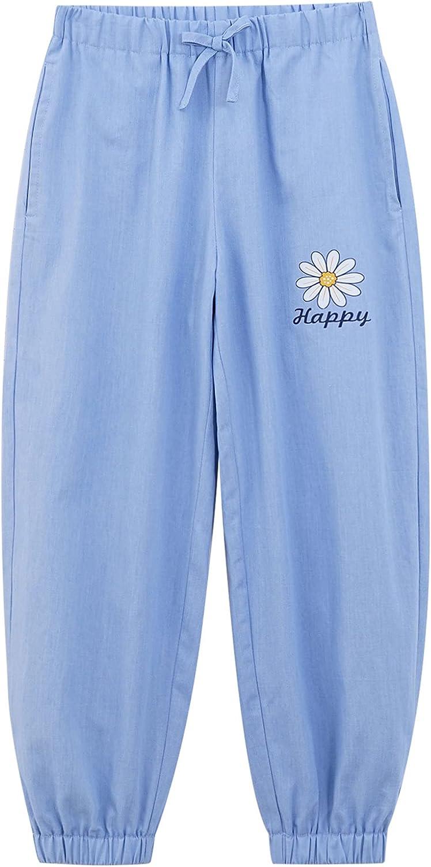 Hansber Kids Girls Sweatpant Floral Printed Long Pants High Waist Self Belted Harem Leggings with Pocket