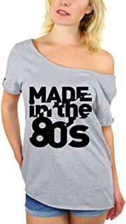 Awkwardstyles Made in The 80's Black Off Shoulder Tops T-Shirt + Bookmark