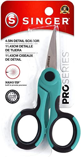 SINGER 00557 4-1/2-Inch ProSeries Detail Scissors with Nano Tip, Teal