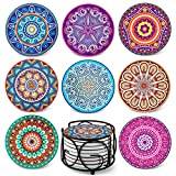 Teivio Absorbing Stone Mandala Coasters for Drinks Cork Base, with Holder, for Friends, Men, Wo…