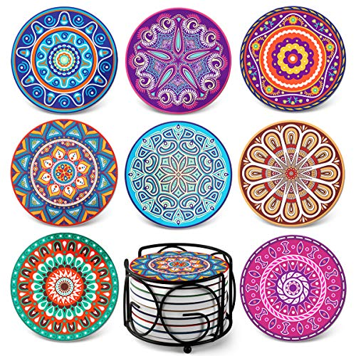 Absorbing Stone Mandala Coasters for Drinks by Teivio - Cork Base, with Holder, Unique Present for Friends, Men, Women, Funny Birthday Housewarming Gifts, Apartment Kitchen Room Bar Decor, Set of 8