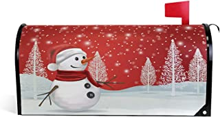 ZZKKO Christmas Tree Magnetic Mailbox Covers, Snowman Snowflake Mailbox Covers Wraps Post Letter Box Cover Home Garden Yard Outside Decorative for Standard Size 20.8