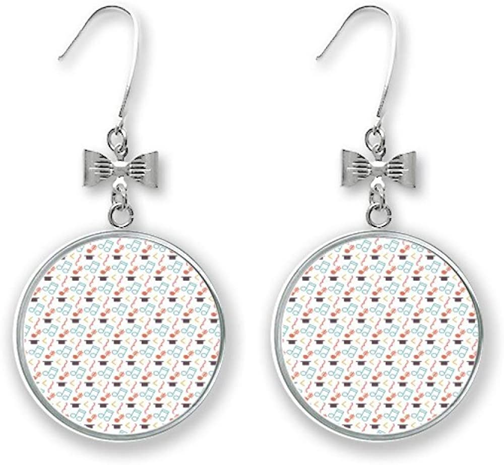 Tensive Dealing Today's only full price reduction Colourful Music Notes White Stud Bow Earrings Drop Pierc