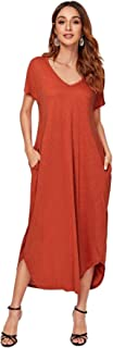 SheIn Women's Loose Maxi Short Sleeve Curved Hem Split V Neck T Shirt Dress