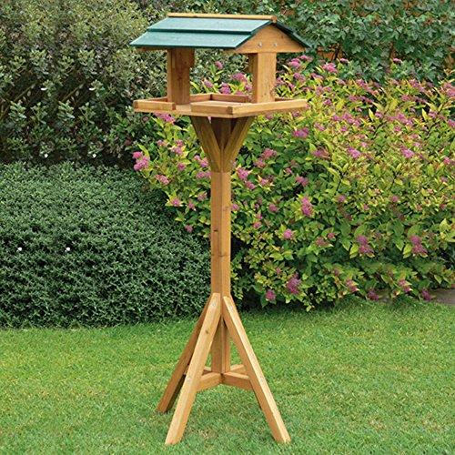 Denny International Traditional Garden Wooden Bird Table Feeder Free Standing Bird House