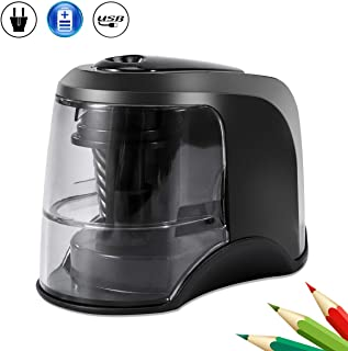 Electric Pencil Sharpener, Auto & Safety Features Electric Pencil Sharpener, Heavy Duty Helical Blade Electric Pencil Sharpener Electric Pencil Sharpener for Office Kids. USB AC or Battery Powered