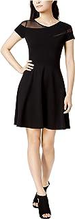 Bar III Womens Mesh-Inset Skater Dress, Black, Small