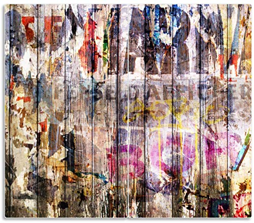 Wallario Herdabdeckplatte/Spritzschutz aus Glas, 2-teilig, 60x52cm, für Ceran- und Induktionsherde, Bemalte Holzplanken mit Alter Schrift