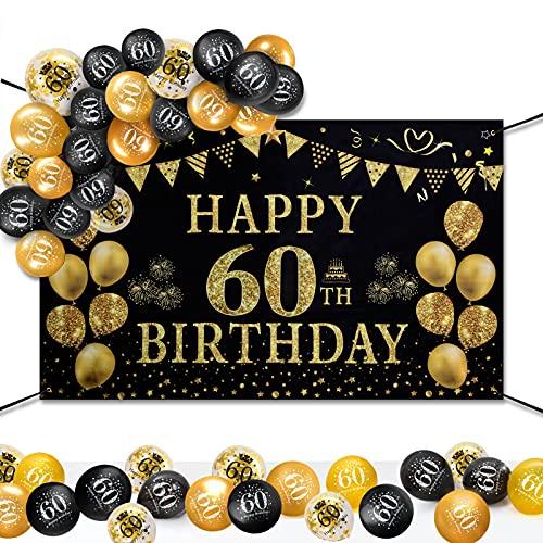 60 Decorazioni Compleanno Oro Nero, GuKKK Birthday Party Background, Cheers To Years Bandiera, Happy Birthday Banner, 60 Anni Poster di Tessuto Sfondo Fotografico Con 15 Pcs Palloncino in Lattice