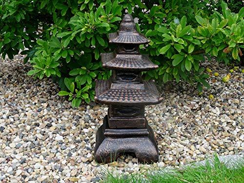 Mehrholz Steinfigur Japanischer Turm Steinlaterne Pagode schwarz Kupfer patiniert