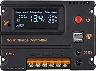 ECO-WORTHY20A Solar Charge Controller Auto 12V 24V LCD Intelligent Solar Panel Battery Regulator with Dual USB Port and Temperature Compensation