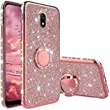 TVVT Glitter Crystal Funda para Xiaomi Redmi 8A, Glitter Rhinestone Bling Carcasa Soporte Magnético de 360 Grados Ultrafino Suave Silicona Lujo Brillante Rhinestone - Rosa