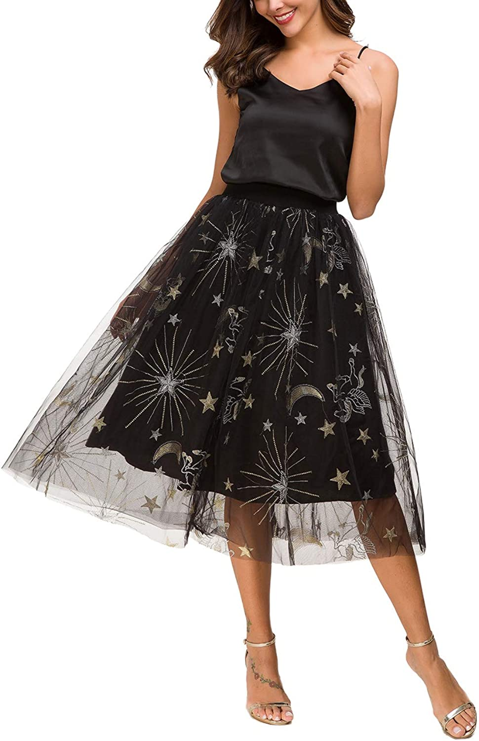 Alcea pinka Women's A Line Short Knee Length Embroidered Beading Tutu Tulle Prom Party Skirt