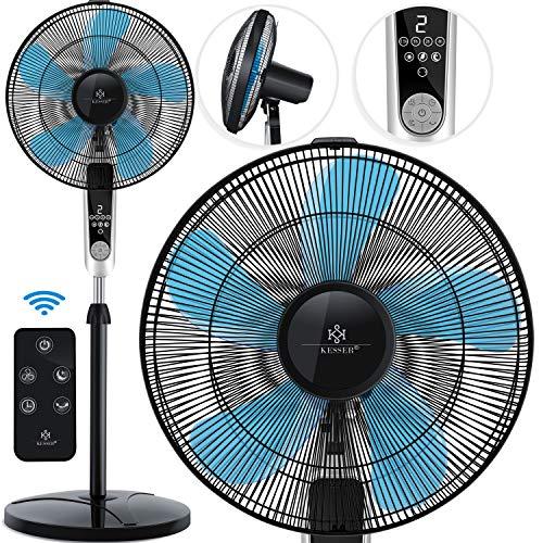 KESSER® - Standventilator mit Fernbedienung und Display Led - Timer leise Oszillation 80 Grad - 60 Watt Ventilator höhenverstellbarer 115-134 cm - Kopf 35 Grad neigbar - 3 Geschwindigkeiten Schwarz