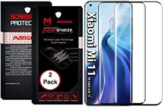 MARGOUN 2 Pack for Xiaomi Mi 11 Screen Protector (6.81 inch) 2021 Tempered Glass 3D Curved, Full Coverage Protective (Blac...