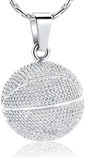 constantlife Cremation Jewelry for Ashes - Basketball Stainless Steel Memorial Pendant Urn Necklace Keepsake for Men Women