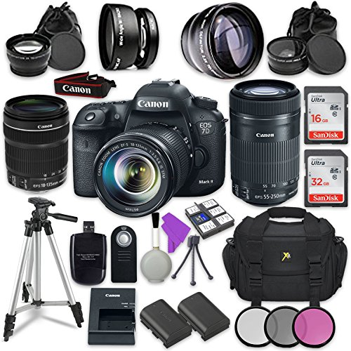 Canon EOS 7D Mark II 20.2MP CMOS Wi-Fi Enabled Digital SLR Camera with Canon EF-S 18-135mm f/3.5-5.6 is STM Lens + Canon EF-S 55-250mm f/4-5.6 is STM Lens + Accessory Bundle