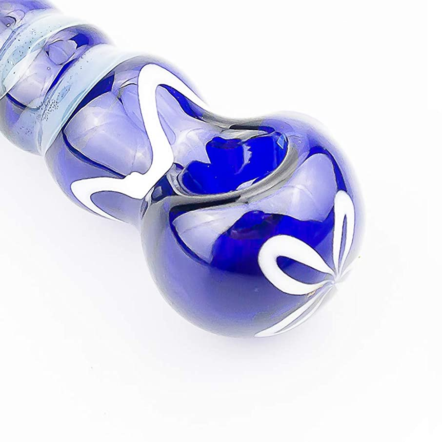 2019 The Best Glassworks Hand-Made Pipe 4 inch Blue Heat-Resistant Art Glass(Blue White)
