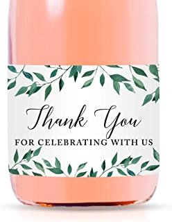 Andaz Press Mini Champagne Wine Bottle Labels, Thank You for Celebrating with Us, Greenery Green Leaves, 20-Pack, Mini Champagne Favor Gift Labels Baby Shower Bridal Shower Bachelorette Party
