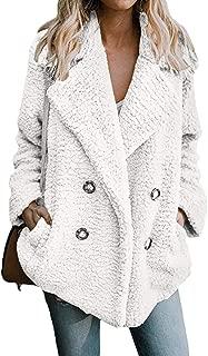 Dawwoti Women's Fuzzy Lapel Coat Thermal Thick Casual Top