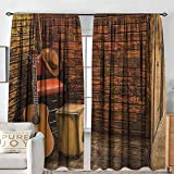 """NUOMANAN Window Blackout Curtains Music,Music Instruments on Wooden Stage in Pub Beverage Cafe Counter Bar,Dark Orange Amber Sand Brown,for Room Darkening Panels for Living Room, Bedroom 60""""x84"""""""