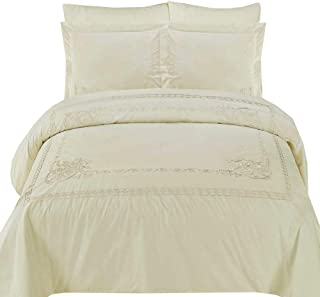 sheetsnthings Embroidered Athena 210-Thread-Count, 100-Percent Cotton King-California King 3PC Duvet Cover Set, Ivory