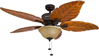 Honeywell Sabal Palm 52-Inch Tropical Ceiling Fan with Sunset Bowl Light, Five Hand Carved Wooden Leaf Blades, Lindenwood/...