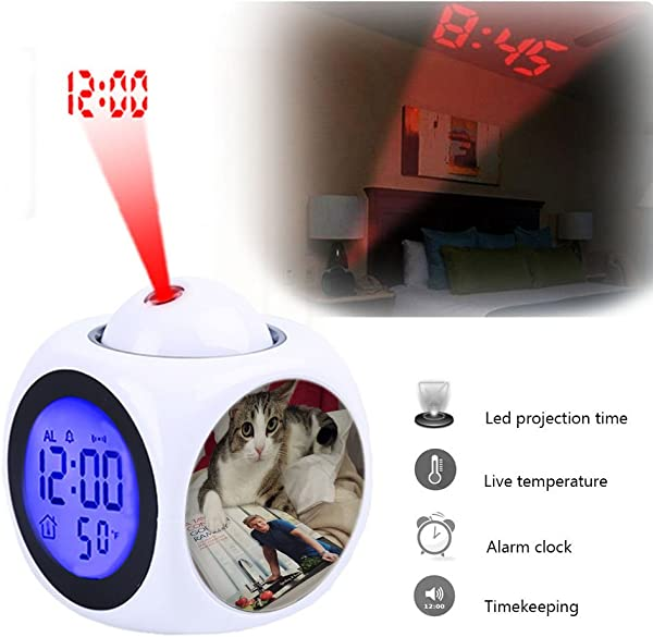Projection Alarm Clock Wake Up Bedroom With Data And Temperature Display Talking Function LED Wall Ceiling Projection Customize The Pattern 082 Chef Mario Gordon Ramsay Kitchen Recipe Book Cat