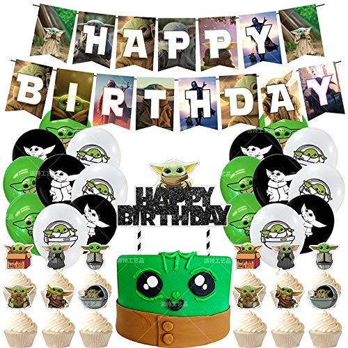 JPYH Juego de 45 Decoraciones para Fiesta de Yoda de bebé, Suministros de cumpleaños temáticos de Star Wars para niños y bebés, Globos de Yoda,Decoraciones para Fiesta De CumpleañOs