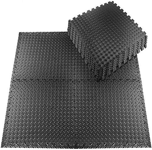 Schutzmatten Set 20 Stück 30x30cm Fitnessmatten Bodenschutzmatten für den Bodenschutz gegen Stöße, Dellen, Flüssigkeiten, Kälte zum Einsatz im Sportraum, Fitnessraum (Schwarz-2)