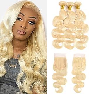 Goldfinch Hair 613 Blonde Bundles with Closure Body Wave Platinum Blonde Human Hair 3 Bundles with Lace Closure Brazilian ...