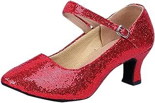 HENWERD Women's Glitter Latin Ballroom Dance Shoes Round-Toe Mid-High Heels Dance Shoes